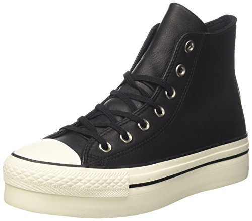 Converse dames Ctas Hi Platform Leather hoge sneakers, zwart