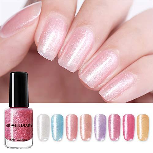 NICOLE DIARY Peel Off esmalte de uñas Glimmer Pearl a base de agua Nail Art Barniz Peelable Fine Glitter nail art Liquid Set de decoración 6 ml (paquete de 8 colores)