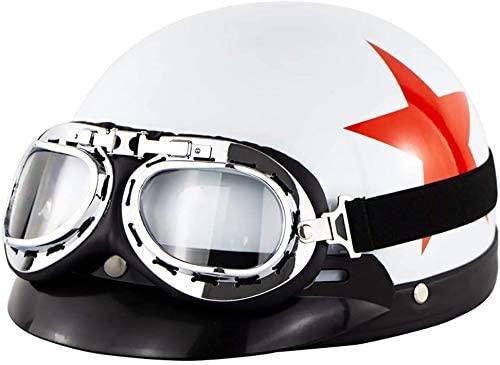 MRDAER Medio Casco de Motocicleta, Casco Retro de Motocicleta, Casco Abierto, Casco de Moto de Verano para Hombre y Mujer, para Motocicleta, Motocicleta, Crucero, helicóptero, ciclomotor, ATV, apro