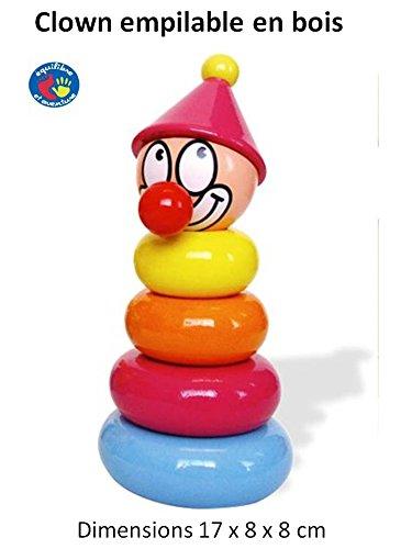 Premier âge - Joli clown empilable en bois. Livraison Gratuite.