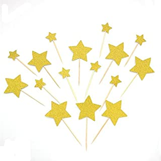 Heamarty 40 Pcs Twinkle Gold Star Cupcake Toppers DIY Glitter Mini Birthday Cake Snack Decorations Picks Suppliers Party A...
