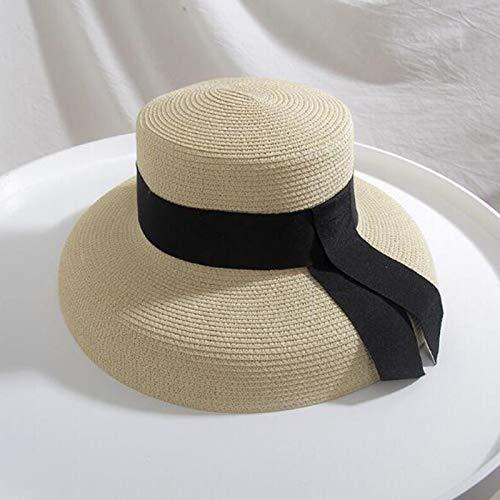 Yiyu Frauen Sonnenhut Summer Beach Strohhut Frauen Bootsfahrer Hut Mit Band Krawatte Für Urlaub Urlaub Audrey Hepburn Rot x (Color : Brown)