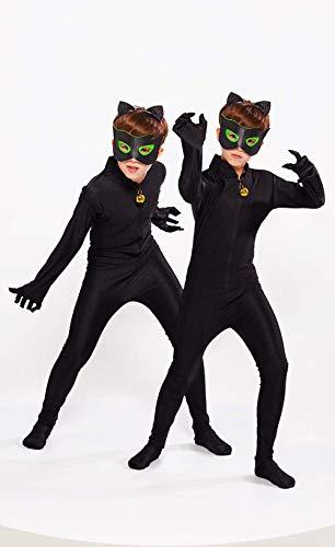 Kinder Festlich Party Overall, Kid's Cat Noir Cosplay Fasching Kostüm Jumpsuit für Halloween Karneval Weihnachten M(Gr.122/128)