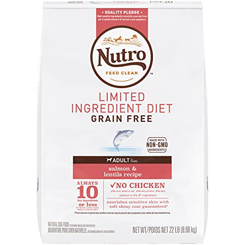 NUTRO Limited Ingredient Diet Adult Salmon & Lentils Recipe Grain Free Dog Food (1) 22-lb., 10 Key Ingredients or Less Plus Natural Flavors, Vitamins, Minerals and Other Nutrients