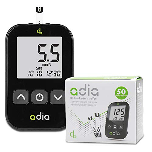 Adia Diabetes-Set, Messeinheit mmol, mit 60 Blutzuckerteststreifen, Stechhilfe und 10 Lanzetten zur Blutzuckerkontrolle