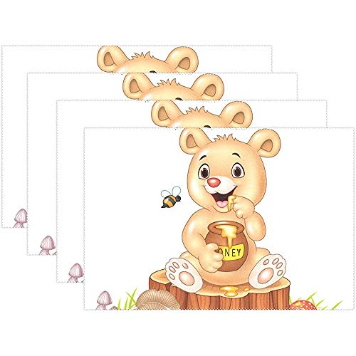sunnee-shop Oso Lindo Miel Abejas Placa Animal Alfombrillas Manteles Individuales Alfombrilla 12 x 18 Pulgadas