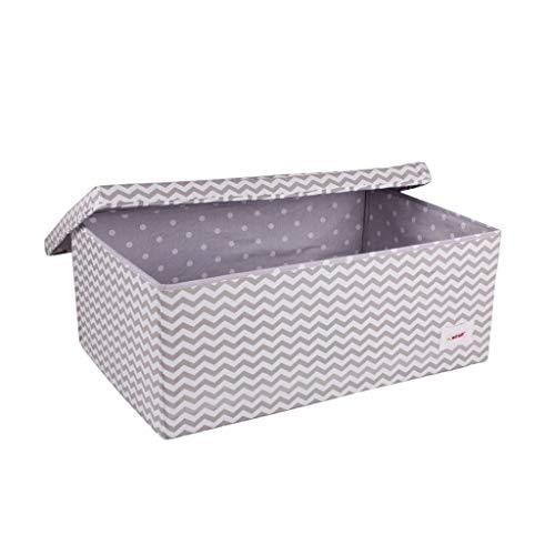 Minene 1249 Aufbewahrung Box Groß, Grau mit weißen Wellen, 60 x 40 x 25 cm