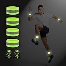 JJunLiM Reflective Bands Running Gear and Reflective Elastic No Tie Shoelaces, Lightweight,Professional,Comfortable, One Size Fits All, 6 Pack