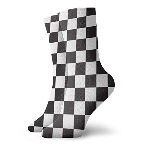 Damensocken mit Schachbrettmuster, nahtlos, Schwarz und Weiß, lustig, lässig, Crew-Socken für Damen/Unisex, 30 cm