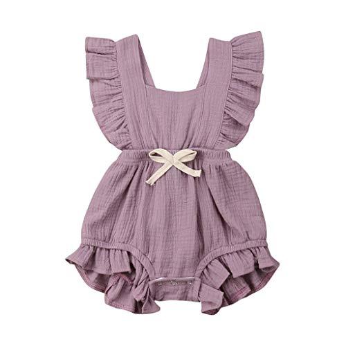 JUTOO Neugeborenes Baby Mädchen Kinder Farbe einfarbig Rüschen Rückkreuzspielanzug Bodysuit Outfits (Lila,80)