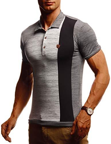 Leif Nelson Herren Sommer T-Shirt Poloshirt Slim Fit Cooles Basic Männer Polo-Shirt Crew Neck Jungen Kurzarmshirt Polo Shirt Sweater Kurzarm LN55145 Anthrazit Grau X-Large