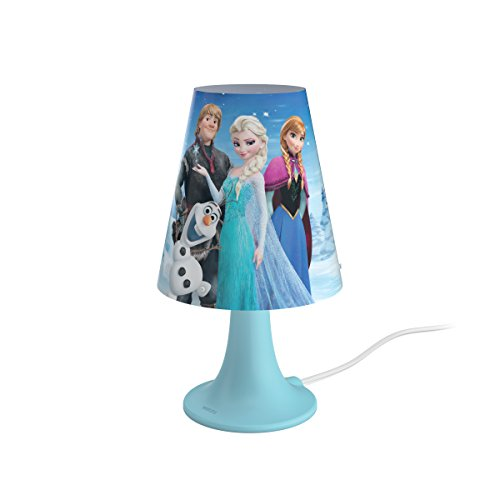 Philips 717953516 - Lámpara de mesa, luz blanca cálida, LED integrado 2.3 W, diseño Disney Frozen, color azul