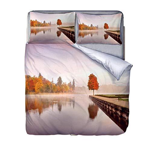 QHSJT Bettwäsche Herbstliche Landschaft Microfaser Wendebettwäsche Set Bettbezug mit Reißverschluss und 2 Kissenbezüge 200x200cm