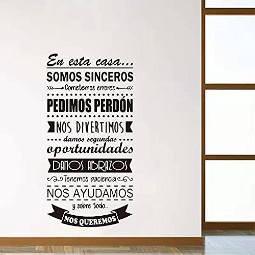 Zdklfm69 Pegatinas de Pared Adhesivos Pared Español en Esta Regla de la casa Habitación de los niños Cita de Amor Familiar en español Decoración de Vinilo 76x151cm