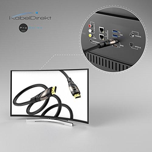 KabelDirekt – 4K HDMI Kabel – 2m (kompatibel mit HDMI 2.0a/b 2.0, 1.4a, 4K Ultra HD, 3D, Full HD, 1080p, HDR, ARC, Highspeed mit Ethernet, PS4, Xbox, HDTV) – PRO Series