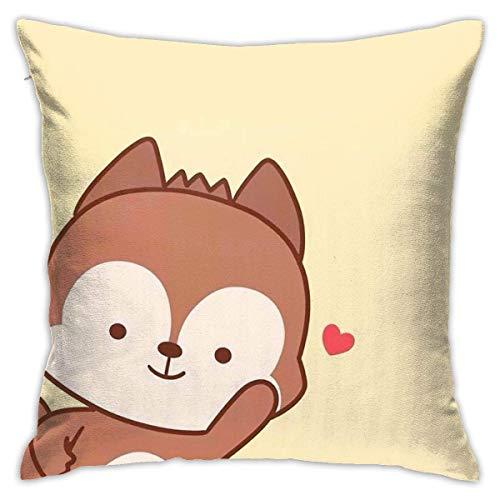 Cute Cartoon Fox Throw Pillow Covers Funda de Almohada Funda de cojín para decoración de Oficina en casa Cuadrado 40X40 Cm
