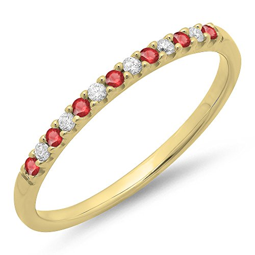 Dazzlingrock Collection 14K Round Ruby & White Diamond Anniversary Wedding Band Stackable Ring, Yellow Gold, Size 5