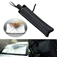 Foldable Car Windshield Sunshade Front Window Cover Visor Sun Shade Umbrella for SUV Truck to Keep Vehicle Cooler (145 x 79cm)