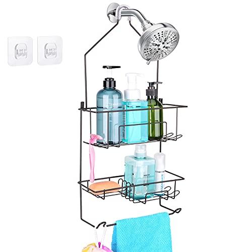 Hanging Shower Caddy over Shower Head, Bathroom Shower Organizer, Shower Storage Rack, Shampoo and Soap Holder, Bronze