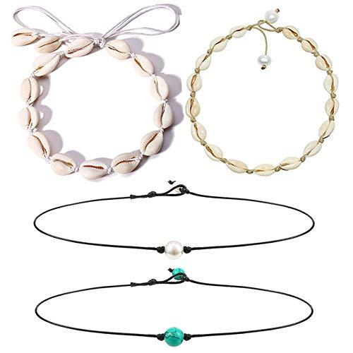 Spiritlele Natural Cowrie Shell Necklace Set Handmade Turquoise Pearl Choker Hawaiian Beach Choker for Women 4 Pack