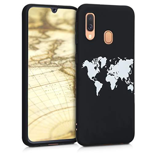 kwmobile Funda Compatible con Samsung Galaxy A40 - Carcasa de TPU Mapa del Mundo en Blanco/Negro