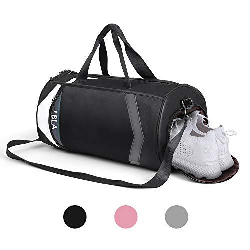 LBLA Sac de Sport Hommes avec Compartiment Chaussures Grande Capacité Sacs de Voyage Gym Fitness Sac pour Hommes Femmes(Noir)