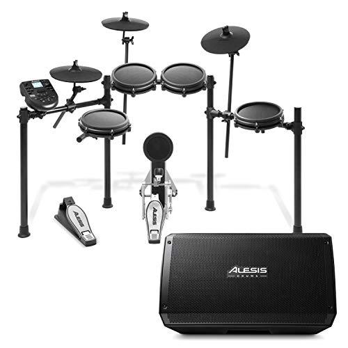 Alesis Nitro Mesh Kit + Strike Amp 12 - Kit de Batería electrónica de ocho piezas, 385 Sonidos y 60 pistas para tocar + Altavoz Amplificador Activo de batería ultraportátil de 2000 W con woofer de 12