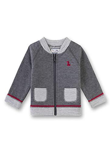 Sanetta Baby-Jungen Sweatjacket Sweatshirt, Grau (Dark Grey Mel. 1720), 56 (Herstellergröße: 056)