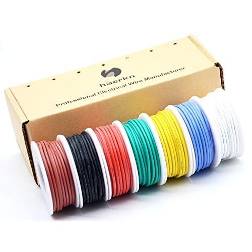0.32mm² 22 AWG Silikon Elektrischer Draht Kabel anschließen Weich und flexibel Litzendraht aus verzinntem Kupferdraht Hohe 7 Farben je 8 Meter Spule Temperaturbeständigkeit 200 Celsius 600V