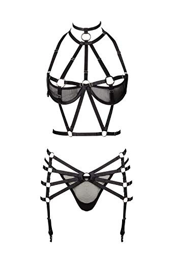Grey Velvet Damen Harness-Dessous-Set XL/XXL