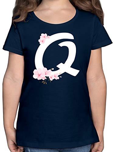 Anfangsbuchstaben Kind - Buchstabe Q mit Kirschblüten - 164 (14/15 Jahre) - Dunkelblau - Shirt q - F131K - Mädchen Kinder T-Shirt