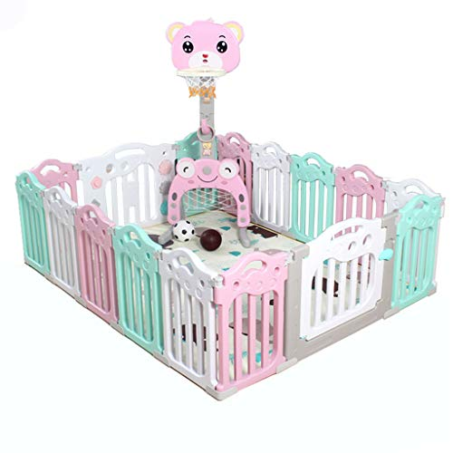 Read About Playpen Built in Pink Basketball Stand with Cute Bear for Baby and Toddlers with Activity...