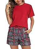 N\A Pijama Mujer Corto, Pijama de Cuadros Algodón Conjuntos de Pijama Verano Ropa de Casa Dormir de Manga Corta Pijama 2 Piezas Conjunto Camiseta y Pantalones a Cuadros para Hogar Rojo XL