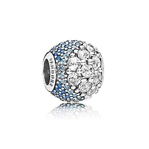LISHOU Mujer Pandora Bead S925 Plata De Ley Clásico Azul Océano Corazón Copo De Nieve Ojo De Gato Atrapasueños Colgante con Cuentas DIY Fabricación De Joyas Z16