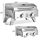 Giantex Propane TableTop Gas Grill Stainless Steel Two-Burner BBQ, with Foldable Leg, 20000 BTU, Perfect For Camping, Picnics or any Outdoor Use, 22'' x 18'' x 15'', Silver