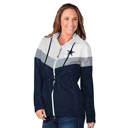 NFL Dallas Cowboys Womens Stadium Lightweight Jacket, Navy White, Medium