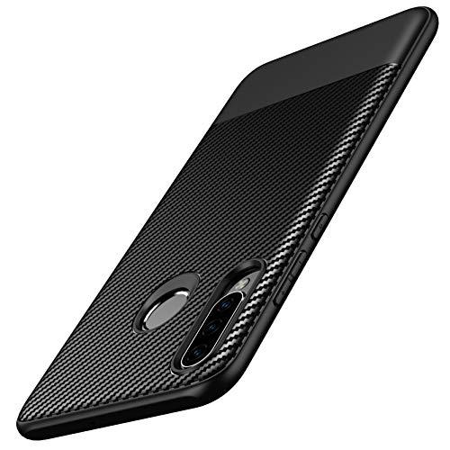 AVANA Hülle für Huawei P30 Lite, P30 Lite New Edition Schutzhülle Flexibles Slim Case Schwarz Schutz Silikon TPU Kratzfest Kohlefaser Handyhülle Bumper Cover Carbon Optik
