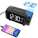 LIORQUE Projection Alarm Clock Radio Digital Clock with USB Charger and Temperature, Alarm Clocks for Bedrooms, 2 Color Display, 4 Dimmer, 12/24H