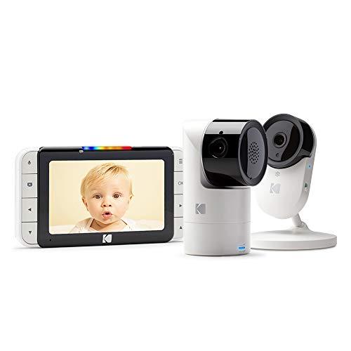 KODAK CHERISH C525 Cámara Vigilabebe + C120 Cámara - de alta definición con WiFi y App móvil, monitor de 5 pulgadas, Pan/Tilt/Zoom, visión nocturna infrarrojos y conversación bidireccional