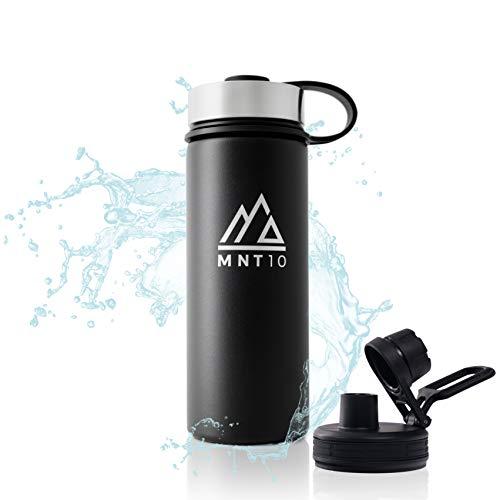 MNT10 Edelstahl Trinkflasche 500ml I Premium Isolierflasche + Gratis Sportdeckel I Thermoflasche für Wandern, Büro, Sport, Fitness, Fahrrad, Schule, Outdoor (Black)