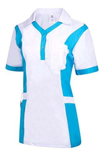 Clinotest Damenkasack Julia, Gesundheitswesen, für die Pflege, Berufsbekleidung, in Trendfarben (S, weiß/türkis)