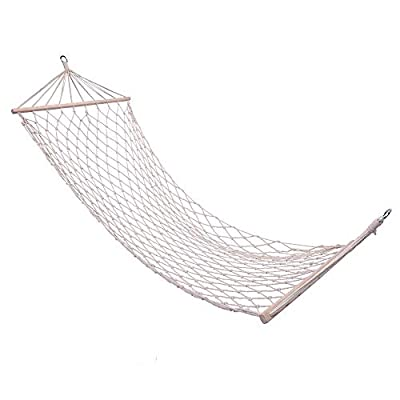 Sanders Deluxe Hanging Cotton Rope Hammock, Single Wide One Person with Thick Hardwood Spreader Bars - 165 Pounds Capacity - Portable for Outdoor Patio, Yard and Porch, Natural