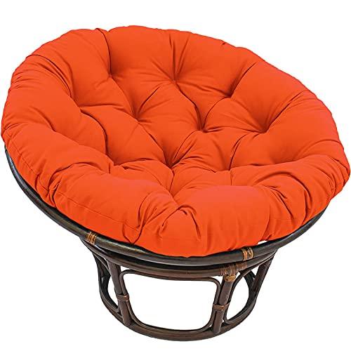 NCBH Papasan - Cojín redondo para silla Papasan, impermeable, con lazos, adecuado para muebles de interior y exterior, color naranja, 120 x 120 cm