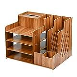 FOCCTS Boîte rangement Esthétique Étagère Rangement multi pour bureau Rangement bureau bois pour dossier cahier