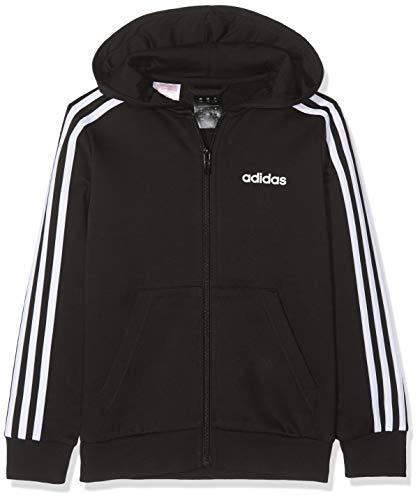 adidas Jungen YB E 3S FZ HD Sweatshirt, Negro/Blanco, 164 (13/14 años)