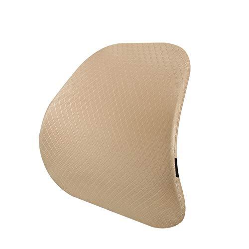 Joycaling Almohada lumbar de apoyo lumbar, cojín de espuma viscoelástica, respaldo ortopédico para asiento de coche, oficina, silla de ordenador, corrección de postura (color: caqui)