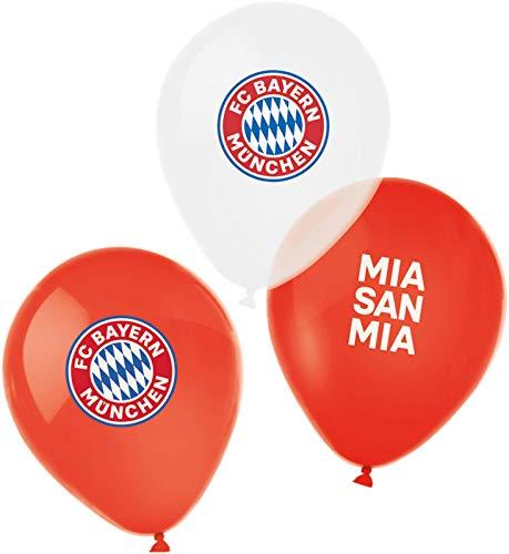 """amscan 9906514 - FC Bayern München Latex-Luftballons, 6 Stück, Größe 27,5 cm / 11"""", Farbe: Blau, Weiß u. Rot, mit Luft / Helium befüllbar, Partydeko für die Feier beim Fanclub oder die Fußballparty"""