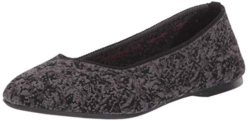 Skechers Women's Cleo-Camo Girl-Camouflage Engineered Knit Skimmer Ballet Flat, Black, 8 M US