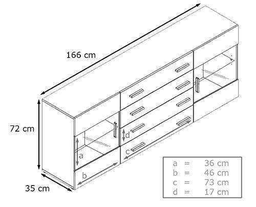 Sideboard Kommode Bari V2, Korpus in Weiß matt / Front in Weiß Hochglanz - 3