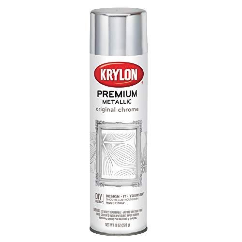 Krylon K01010A07 Premium Metallic Spray Paint Resembles Actual Plating, Original Chrome, 8 oz